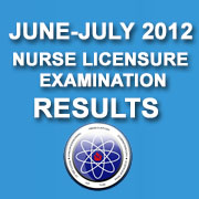 Nursing Licensure Examination – NLE Passers (June 2012) Results